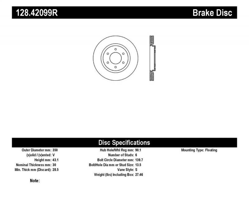 StopTech 128.42099R Sport Cross Drilled Brake Rotor; Front Right Front Right