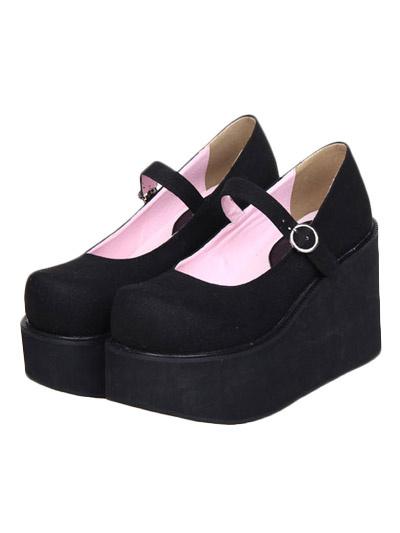 Milanoo Zapatos negros de lolita de ante