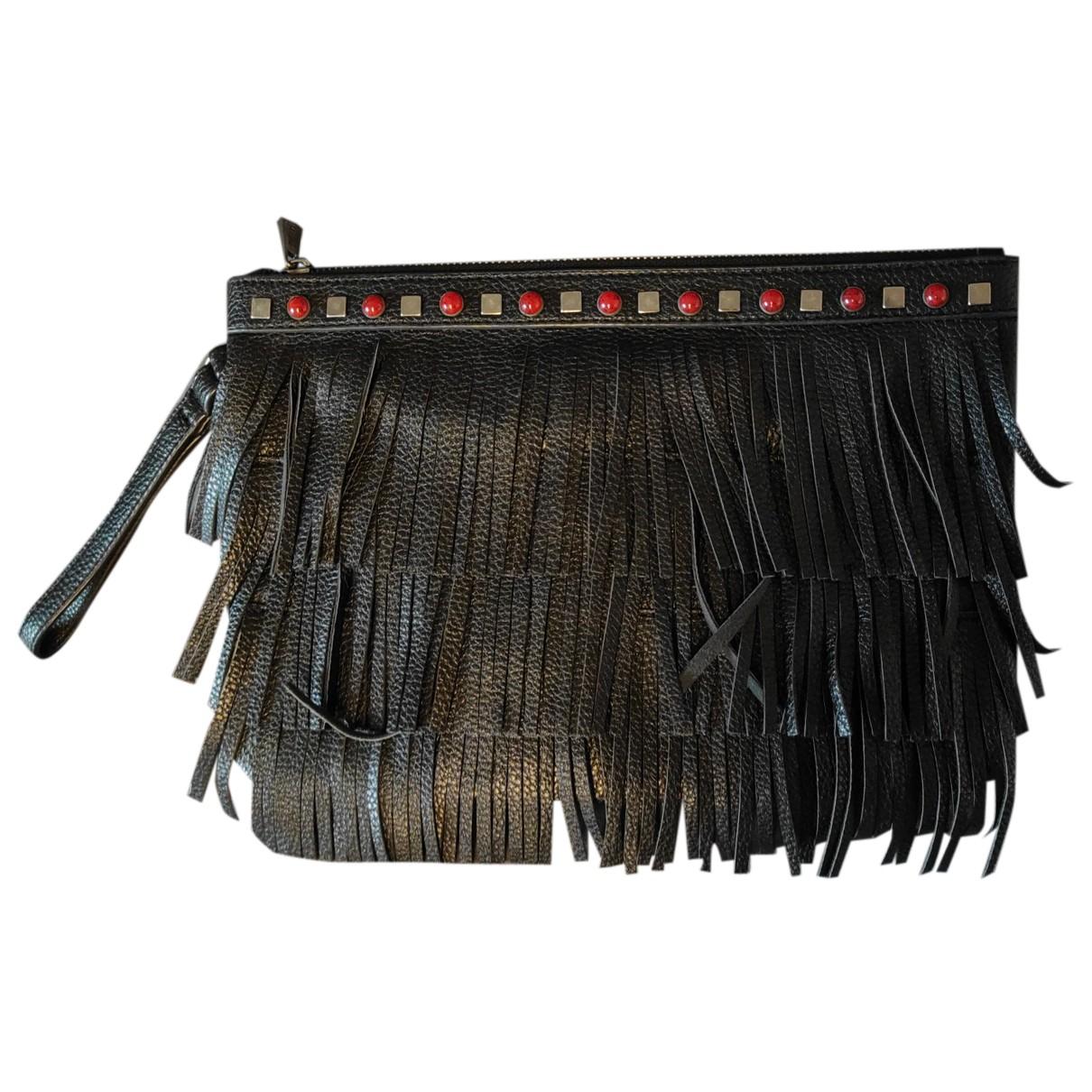 Mia Bag \N Clutch in  Schwarz Leder