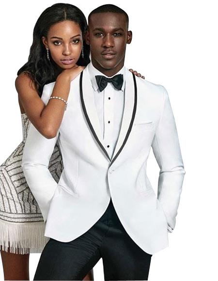 Men's Slim Fit 1 Button Single Breasted Shawl Lapel White Suit
