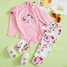 Body ribete fruncido con pantalones florales