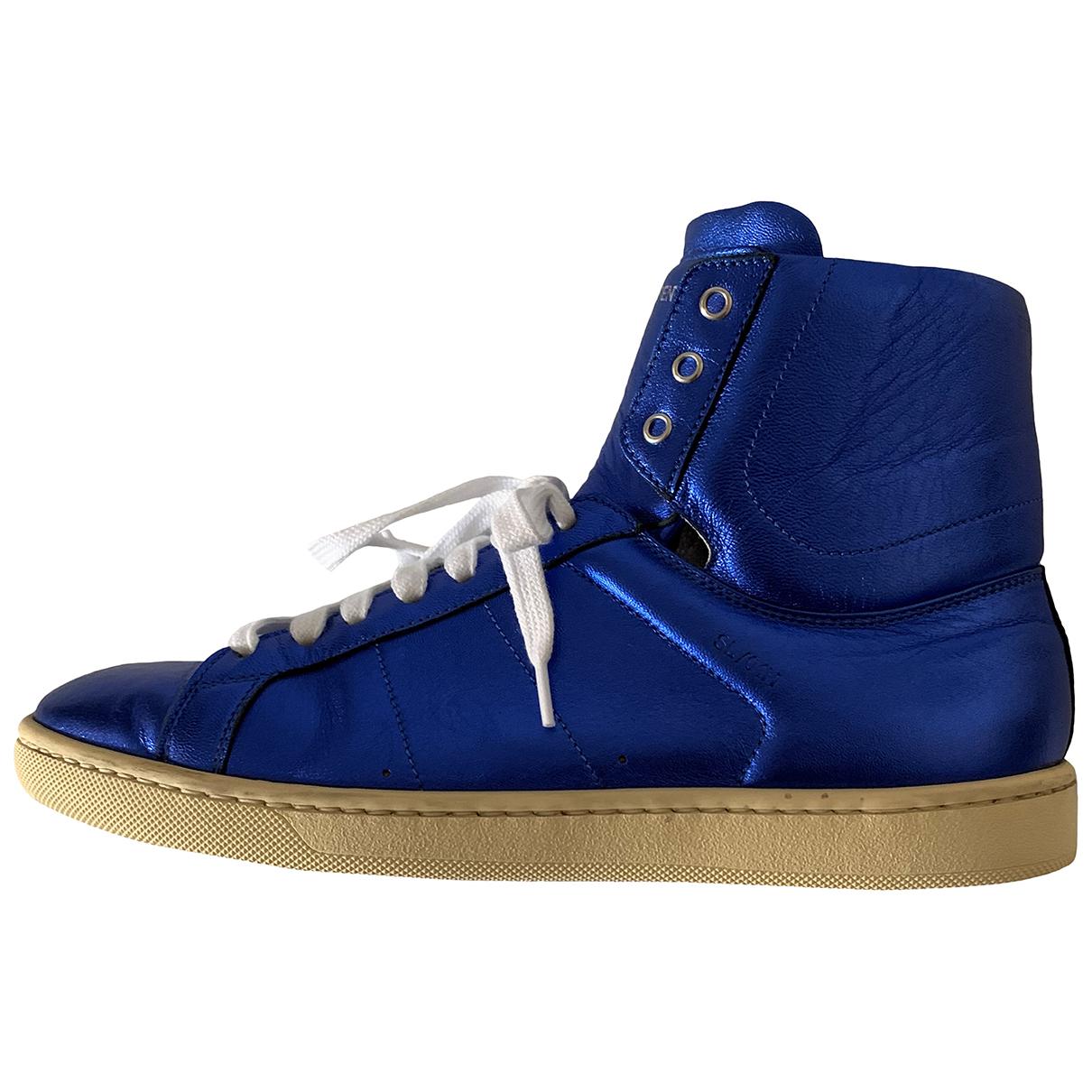 Saint Laurent N Blue Leather Trainers for Women 37 EU