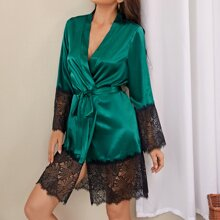 Satin Contrast Lace Belted Night Robe