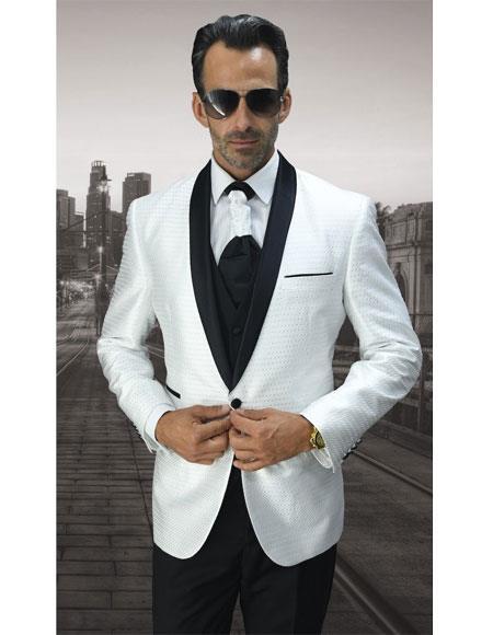 Men's 1 Button White Modern Fit Black Shawl Lapel Vested Suit