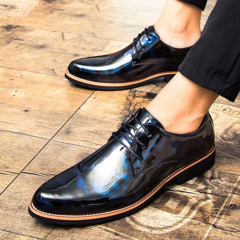 Ericdress PU Pointed Toe Block Heel Men's Dress Shoes
