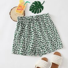 Girls Allover Floral Print Bow Waist Shorts