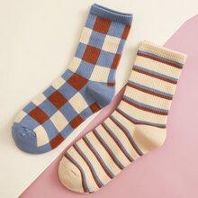 2pairs Striped & Plaid Pattern Socks