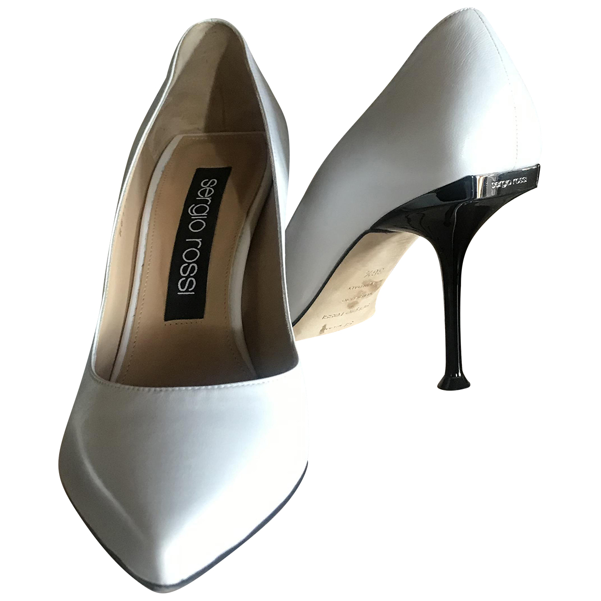 Sergio Rossi SR1 White Leather Heels for Women 38.5 EU