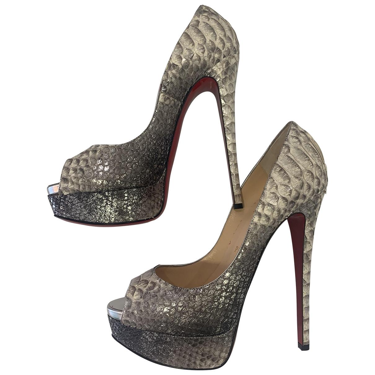 Christian Louboutin Lady Peep Metallic Water snake Heels for Women 37 EU