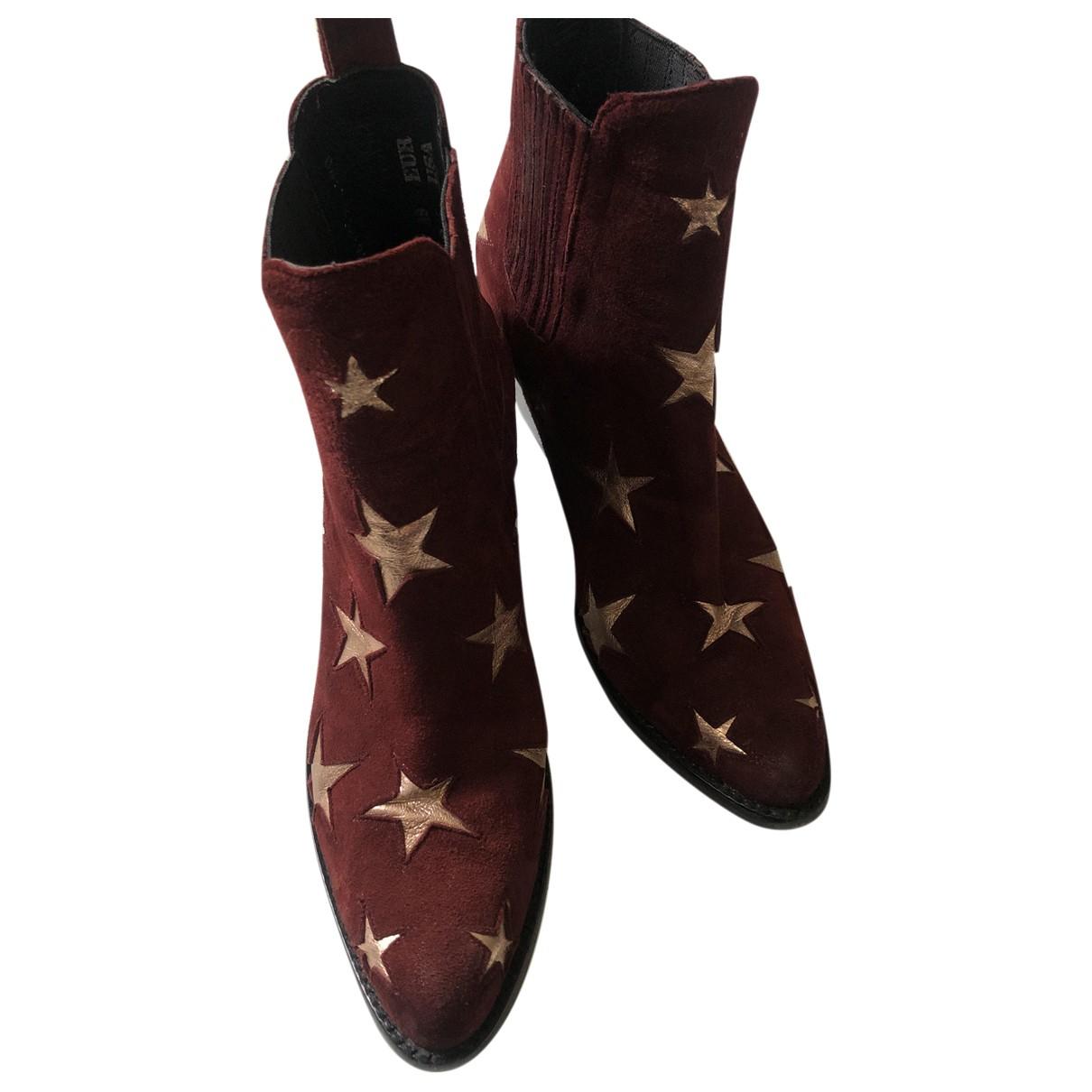 Mexicana - Boots   pour femme en suede - bordeaux