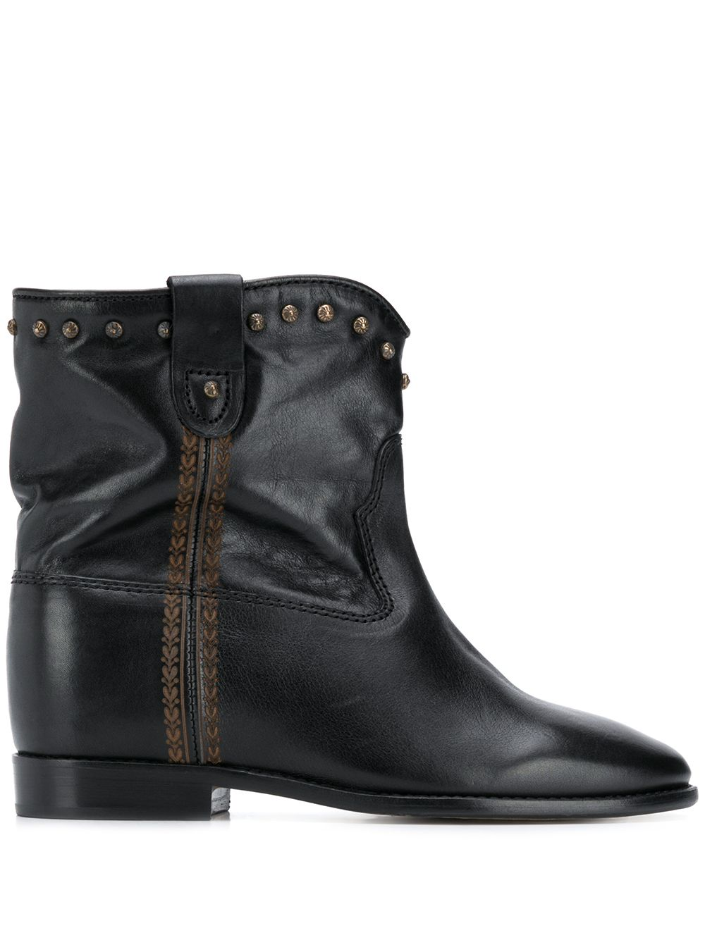 Cluster Leather Ankle Boots