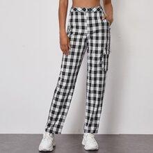 Flap Pocket Chain Detail Plaid Pants