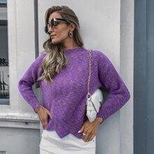 Mock Neck Heathered Knit Asymmetric Hem Sweater