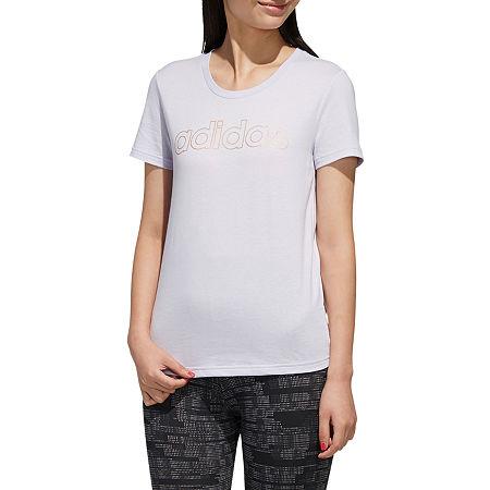 adidas Womens Crew Neck Short Sleeve T-Shirt, Large , Purple