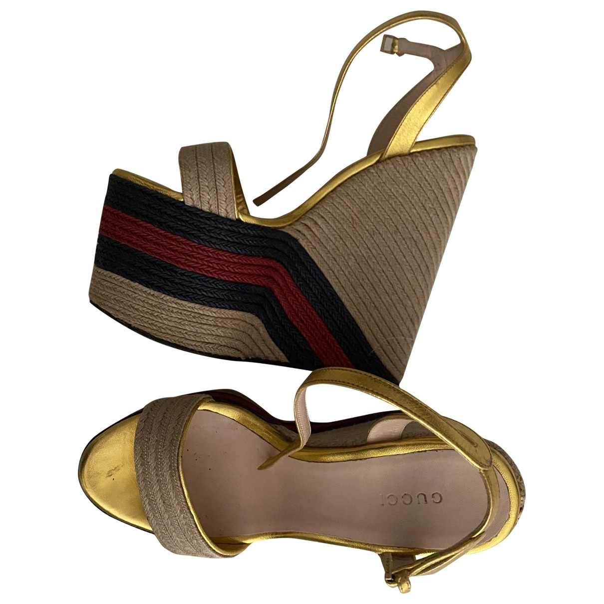 Gucci \N Gold Leather Sandals for Women 37 IT
