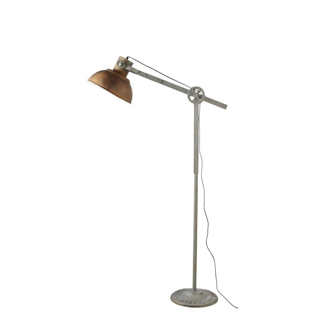 Stehlampe im Industriestil mit Gelenkarm aus grauem Metall in Rostoptik H136