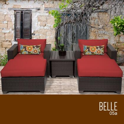 BELLE-05a-TERRACOTTA Belle 5 Piece Outdoor Wicker Patio Furniture Set 05a with 2 Covers: Wheat and