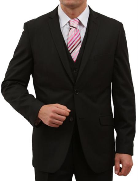 2 Button Solid Black Front Closure Suit Mens Cheap