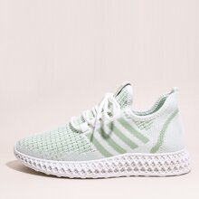 Lace-up Front Striped Graphic Knit Sneakers