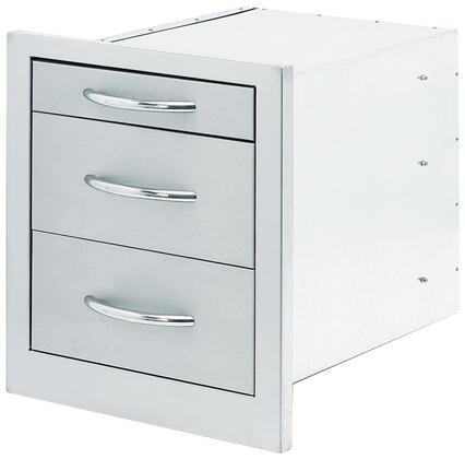 BBQ08866 Built-In BBQ Storage Bin with 3 Extension Drawers  Industrial Strength Hidden Hinges  and Extra Large Handles  in Stainless