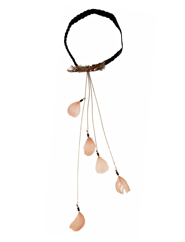 Kostuemzubehor Haarband mit Federn Farbe: braun