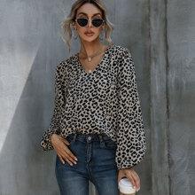 Bluse mit Leopard Muster und Bischofaermeln