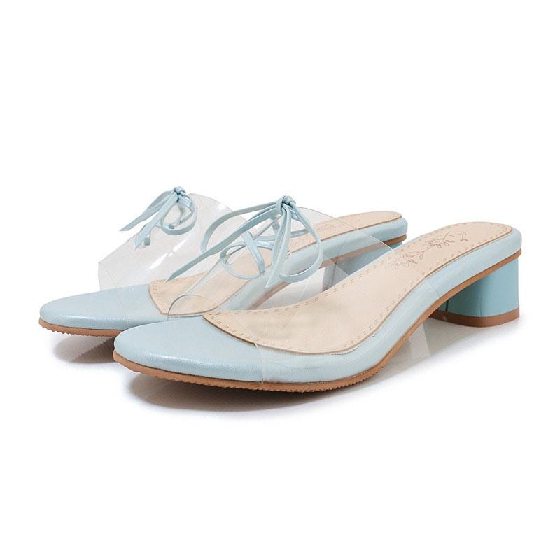 Ericdress Block Heel Flip Flop Lace-Up Summer Slippers