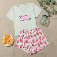 Letter & Watermelon Print PJ Set