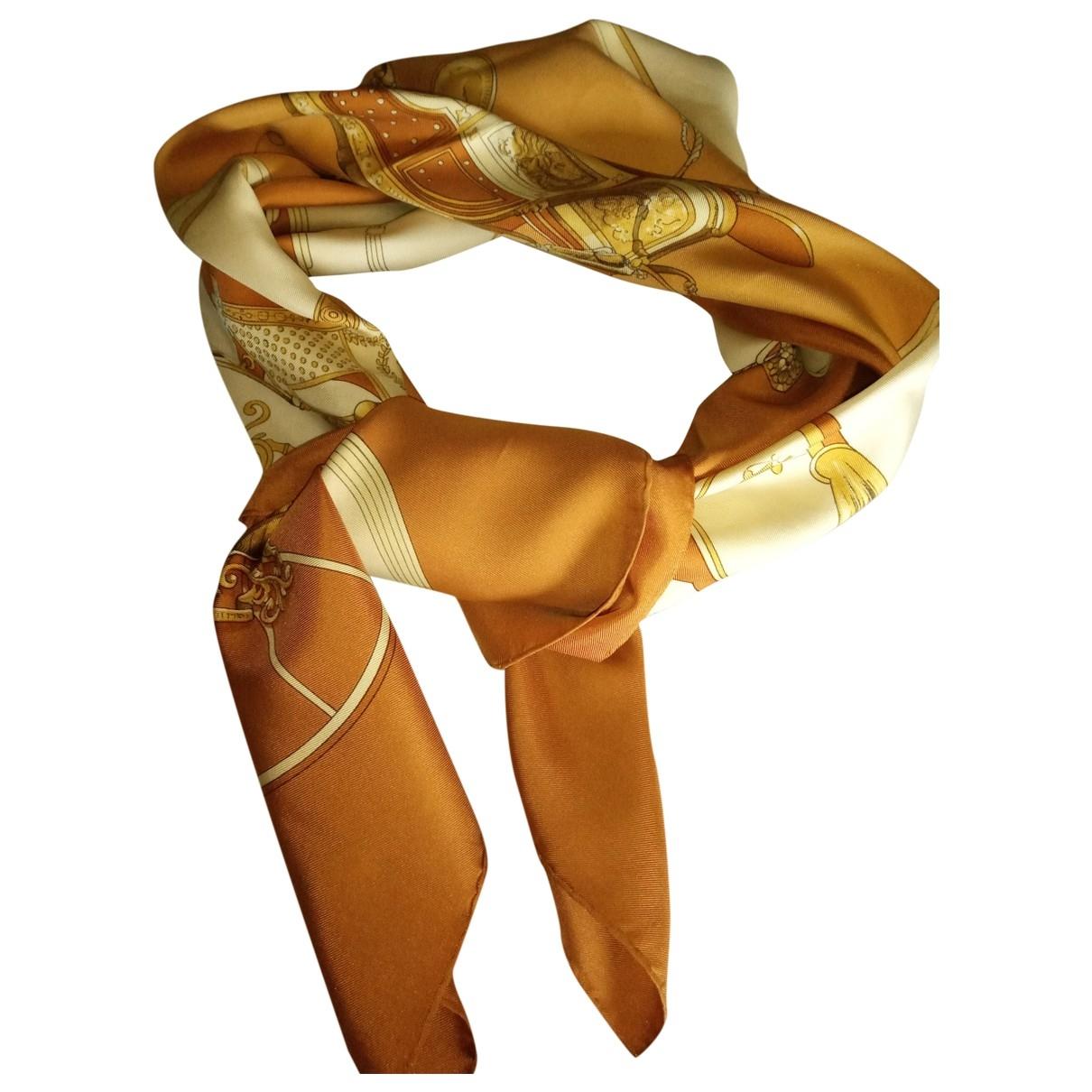 Hermes - Carre Carre 90 pour femme en soie - marron