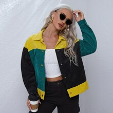 Color Block Single Breasted Jacket