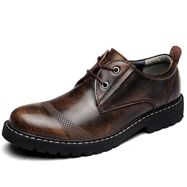 Men Retro Color Cow Leather Low-top Lace Up Casual Shoes