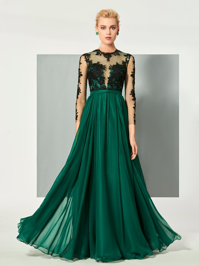 Ericdress A Line Long Sleeve Lace Applique Floor Length Long Evening Dress