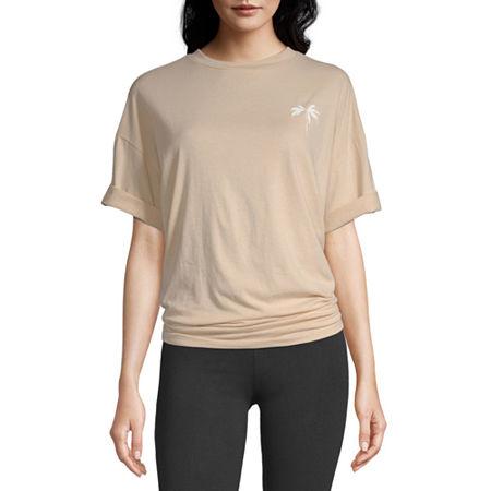 Flirtitude Juniors-Womens Crew Neck Short Sleeve T-Shirt, X-large , Pink