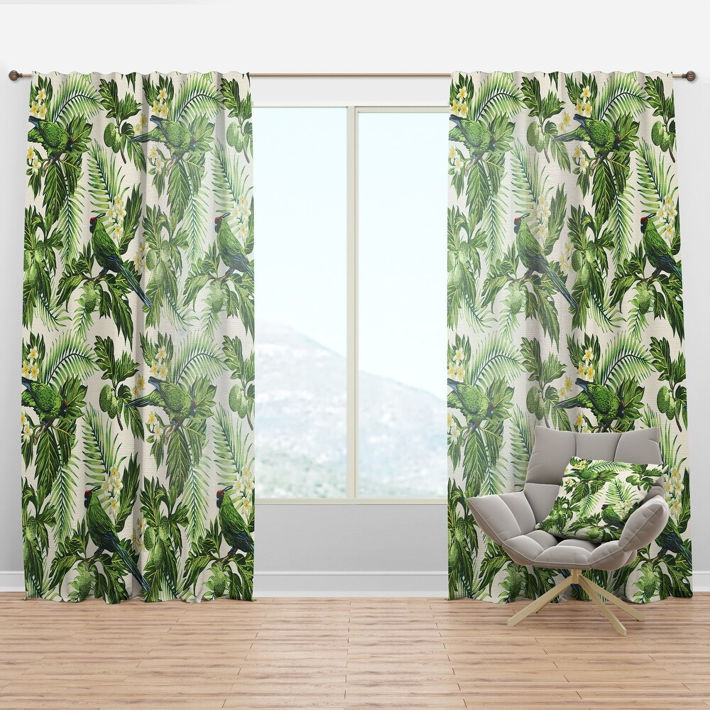 Designart 'Tropical Leaves, Green Bird and White Flowers' Animals Curtain Panel (50 in. wide x 120 in. high - 1 Panel)
