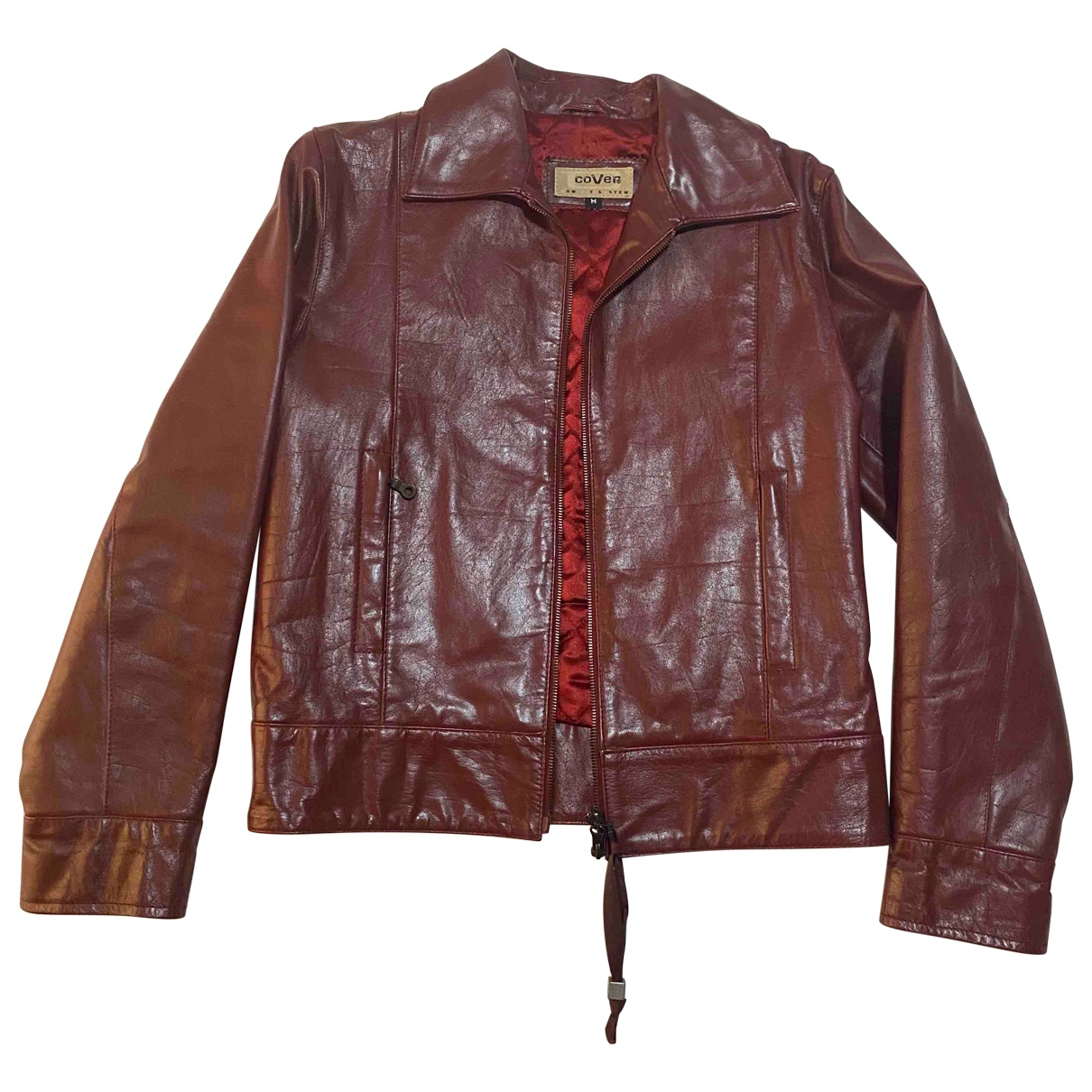 Non Signé / Unsigned Hippie Chic Burgundy Leather jacket for Women M International