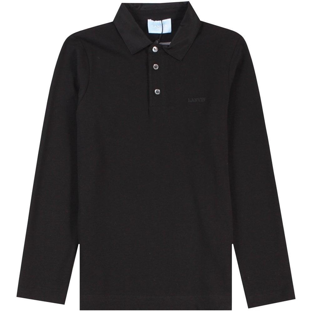 Lanvin Kids Long Sleeve Polo Shirt Black Colour: BLACK, Size: 14 YEARS