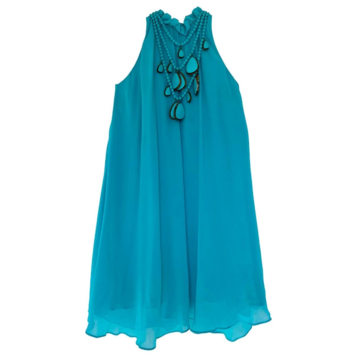 Non Signe / Unsigned Epaulettes Kleid in  Gruen Seide