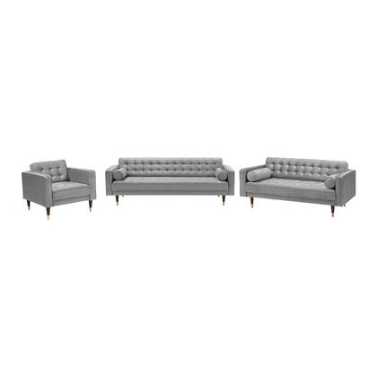 SETSMGREY3PC Somerset Grey Velvet Mid Century Modern Sofa Seating