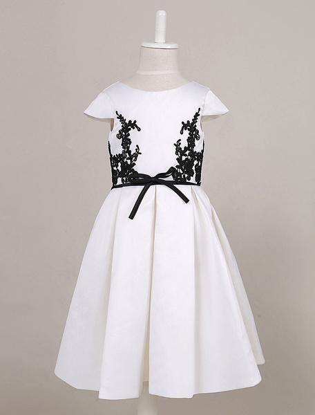 Milanoo Vestido para niñas de flores tela saten de marfil con escote redondo con botones con manga corta