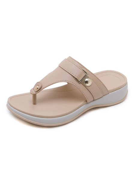Milanoo Flat Sandals For Women Buttons Flat PU Leather Casual