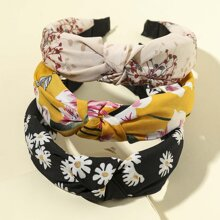 3pcs Floral Pattern Knot Decor Hair Hoop