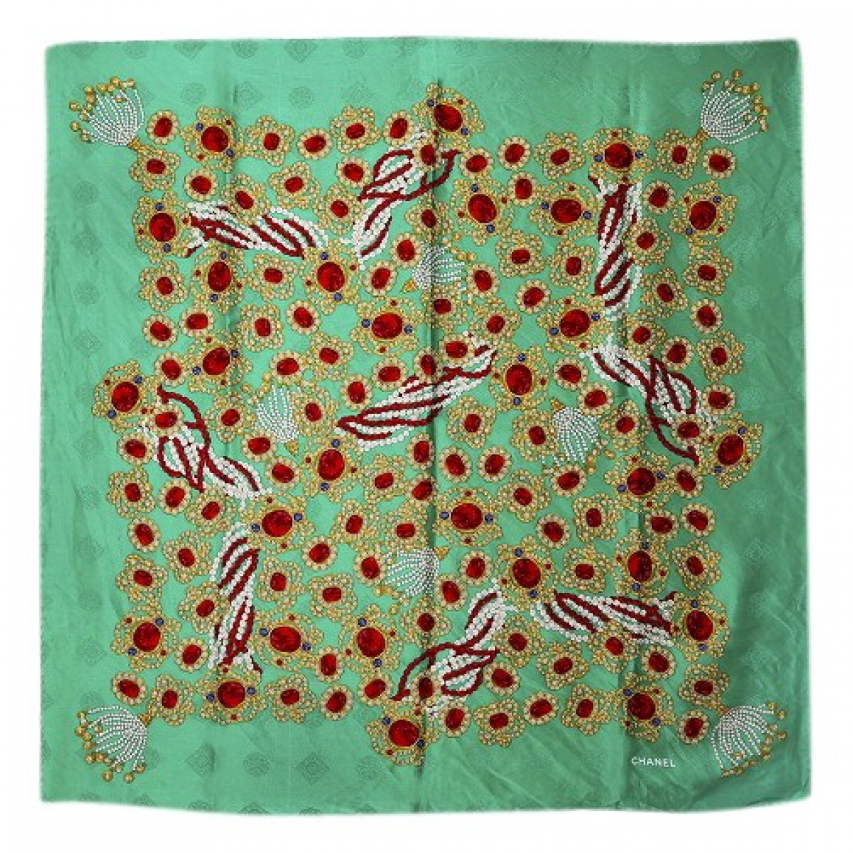 Chanel - Foulard   pour femme en soie - vert
