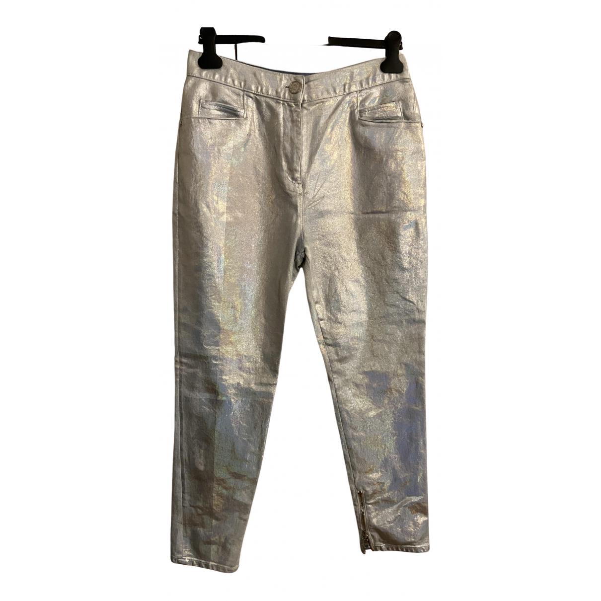 Balmain \N Metallic Cotton Trousers for Women 44 IT