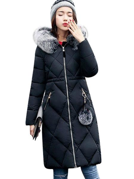 Milanoo Women\'s Puffer Coats Hunter Green Hooded Faux Fur Collar Zipper Long Sleeves Polyester Oversized Outerwear