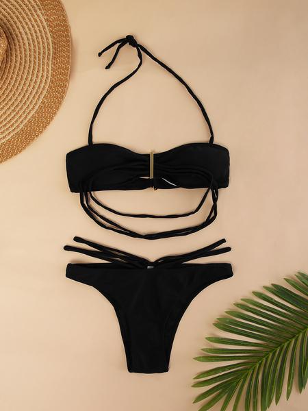 Yoins Black Tie-up Design Halter Bikini