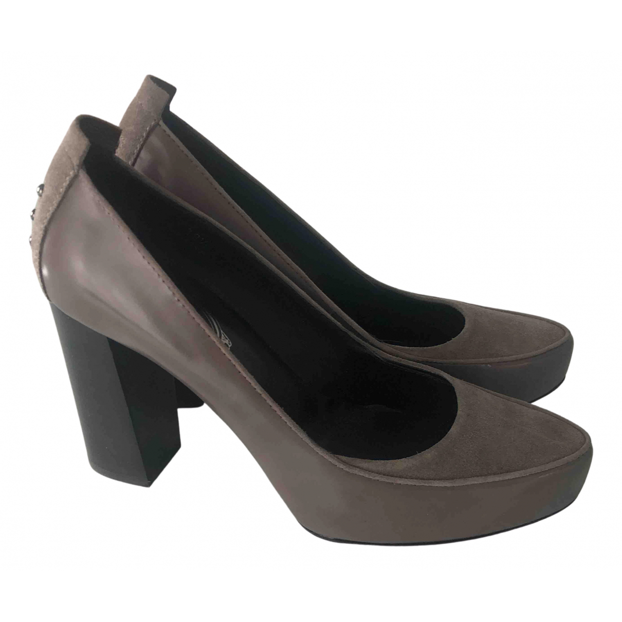 Tod's N Grey Leather Heels for Women 39.5 IT