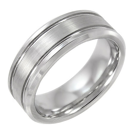 Tungsten Wedding Band, Mens 8mm, 8 , No Color Family