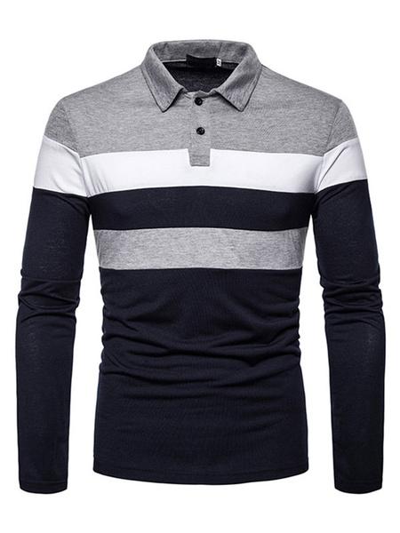 Milanoo Camisa polo para hombre Cuello redondo con cuello redondo Mangas largas Slim Fit Camisas polo de moda azul marino oscuro
