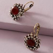 1pair Rhinestone Decor Stud Earrings