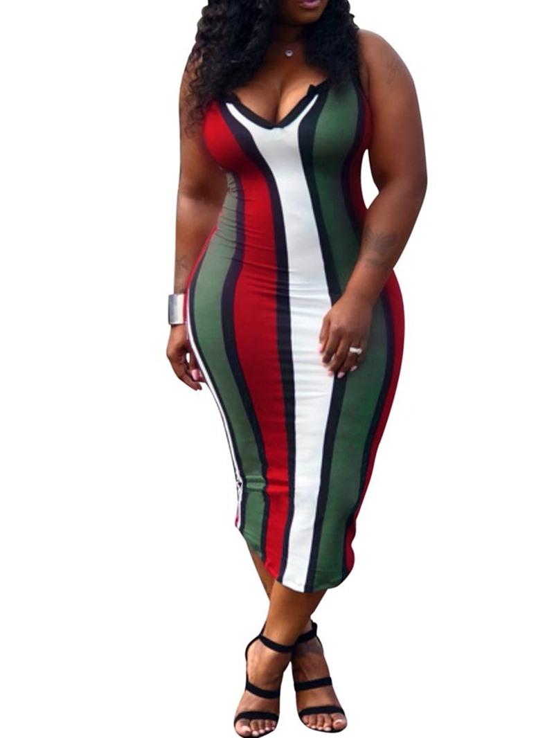 Ericdress Striped Color Block Sexy Mid-Calf Sleeveless Summer Sheath Dress